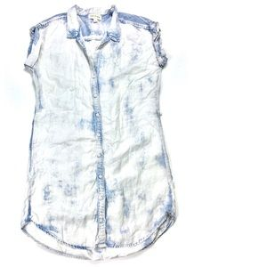 Cloth and Stone Acid Wash Button Up Shirtdress
